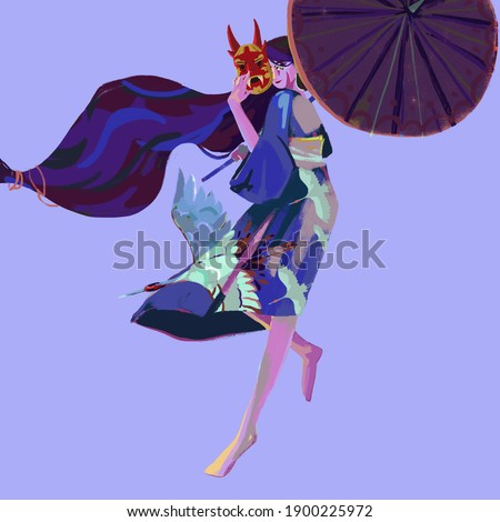 Japanese culture character, Kami girl, god of heaven and earth, with  traditional umbrella in one hand and a mask in the other, the dress depicts cranes flying into the sky, a symbol of prosperity Zdjęcia stock ©