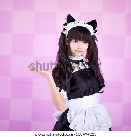 japanese cute lolita maid in pink background