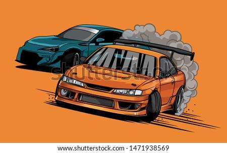 Japanese drift sport cars, Street racing, Burnout car Stock photo ©