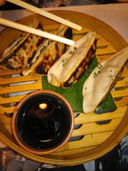 Japanese dumplings with soy sauce