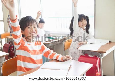 Japanese elementary school students  raise their hands #1020019837