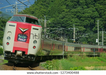 Japanese express train running in the mountains. 'やくも' means Yakumo (name of the train). ストックフォト ©
