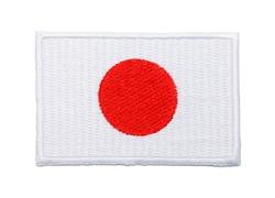 Japanese Fabric Uniform Flag Patch Isolated on White Background.