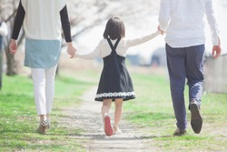 Japanese family to walk in the cherry trees