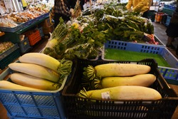 Japanese farmers' market sells fresh vegetables, foodstuffs and local specialties.