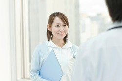 Japanese female nurse and male doctor