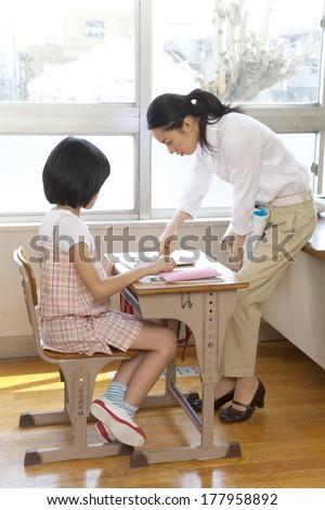 Japanese Female teacher who teaches students
