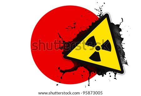 Japanese flag with symbol of radiation