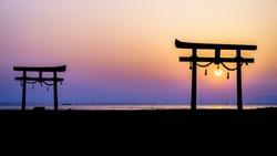 Japanese Floating Torii Gate in Kyushu, Japan.