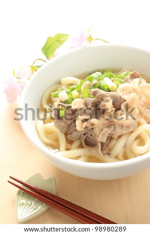 Japanese food, beef and Udon noodles with spring onion - stock photo