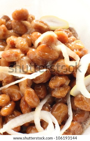 japanese food, close up of Natto fermented soybeans and leek