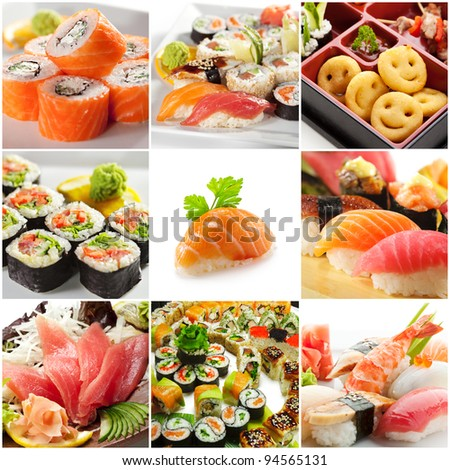 Japanese Food Collage - stock photo