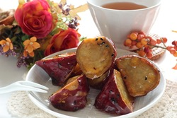 Japanese food, Daigakuimo candied sweet potato with barley tea