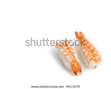 Japanese food: delicious Ebi (shrimp) Nigiri Sushi isolated on white background.