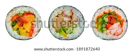 Japanese food delicious Futomaki big roll isolated on white background, Futomaki sushi collection isolated