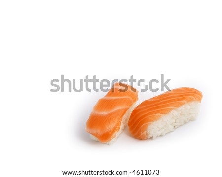Japanese food: delicious Sake (fresh salmon) Nigiri Sushi isolated on white background.