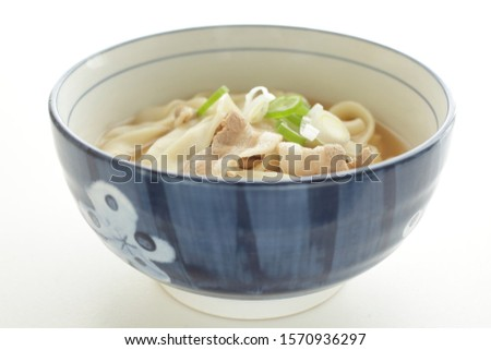 Japanese food, flat undo Kishimen and pork in soup #1570936297