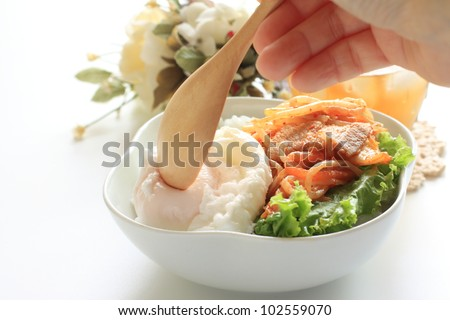 japanese food, kimchi and soy bean sprout stir fried rice bowl