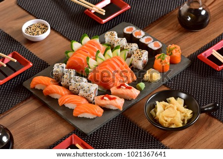 Japanese food mix on a restaurant table #1021367641