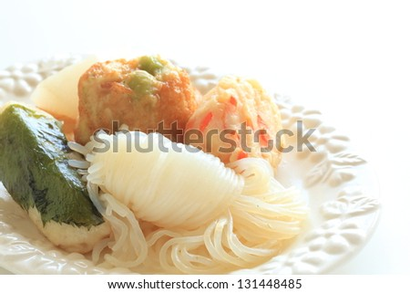 japanese food, oden with satsumaage fish ball and irataki
