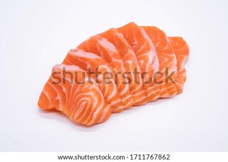 Japanese food, Salmon sashimi, isolated on a white background. Foto d'archivio ©