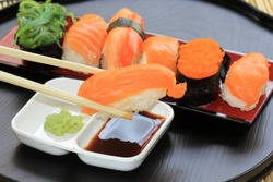 Japanese food/ salmon,shrimp,seaweed sushi in the tray