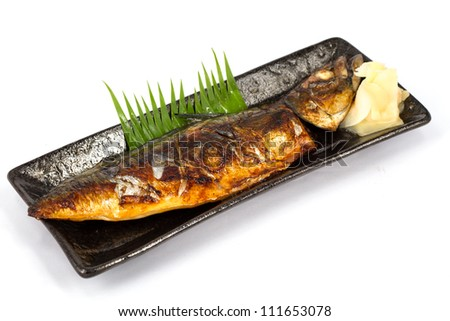 Japanese Food Style , Saba Fish Grilled The Plate On White Background ...