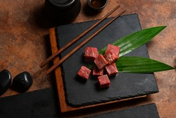 Japanese Food style : The premiums sliced Wagyu beef put on the plate for ready to cooking or grill