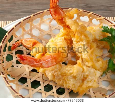 Japanese Fried Tempura With Shrimp In Braided Basket Stock Photo ...
