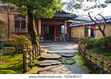 Japanese Garden at Nagamachi Samurai Distric Nomura-ke - stock photo