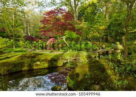 Japanese garden in spring, Den Haag, Holland - stock photo