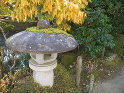 Japanese garden scenery with Big traditional old stone lantern covered moth moss,