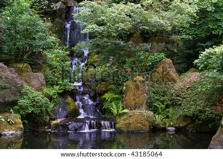 Japanese Garden waterfall, Portland, Oregon