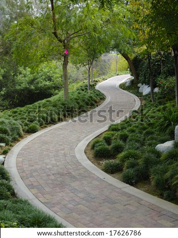 Japanese Garden With Paving Stone Walkway Stock Photo 17626786 ...