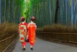 Japanese Geisha at Chikurin-no-Michi (Bamboo Grove) in Arashiyama in Kyoto