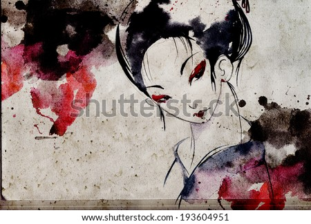 japanese geisha woman with red lips and eye shadows wearing white kimono
