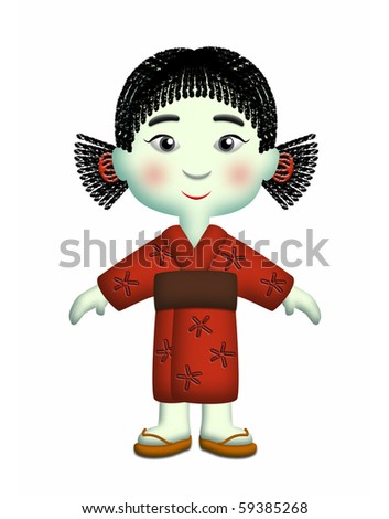 Japanese girl wearing red kimono and side ponytails.