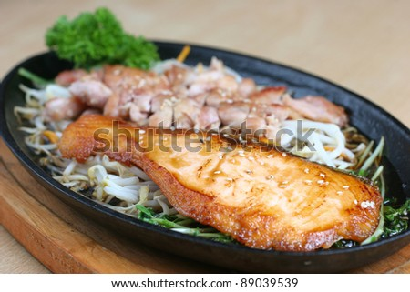 Japanese grilled chicken and fish in terriyaki sauce