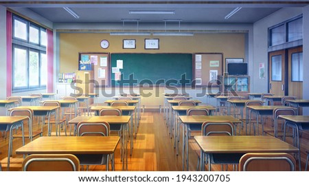 Japanese high school classrooms, 2D Illustration - at day time.