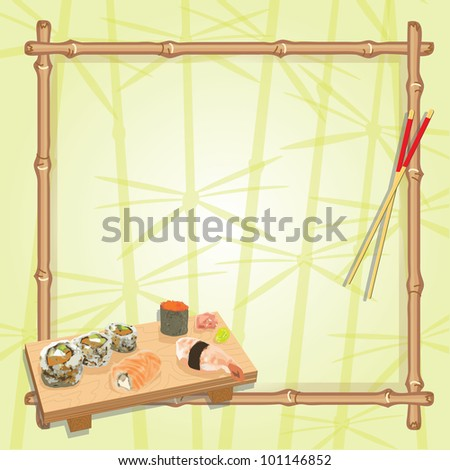 Japanese inspired sushi  party with an assortment of sushi on a wood serving board, chop sticks and a bamboo frame with a subtle background of lucky bamboo. Great for any Japanese themed party!