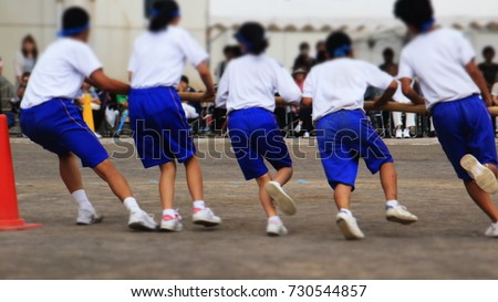 Japanese junior high school gym meeting festival. #730544857