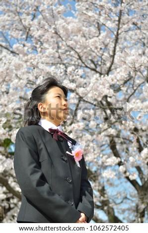 Japanese junior high school student(cherry blossom) #1062572405