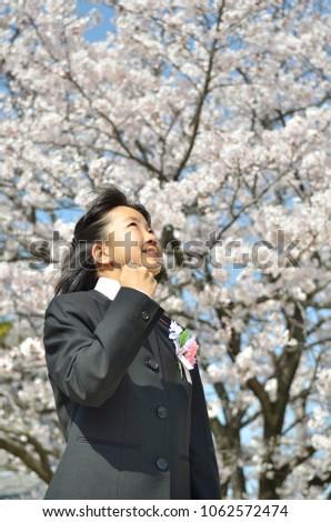 Japanese junior high school student(cherry blossom) #1062572474