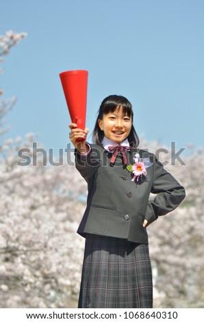 Japanese junior high school student (cherry,entrance ceremony) #1068640310