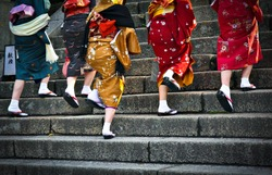 Japanese ladies in traditional dress