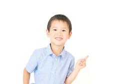 Japanese little boy on white background