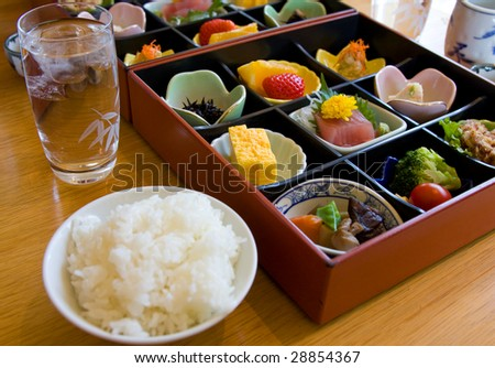 Japanese Luxury food box served as a complete dinner with rice