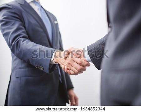 Japanese male businessman shaking hands