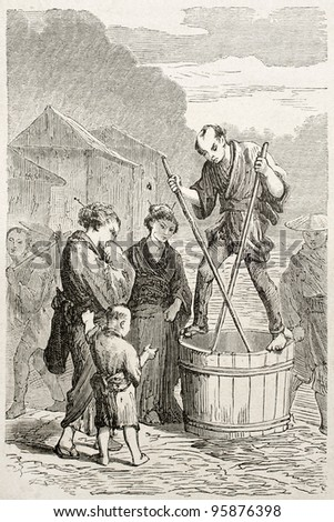 Japanese merchant selling shellfish. Created by Perrin after Japanese sketch by unknown author, published on Le Tour Du Monde, Ed. Hachette, Paris, 1867