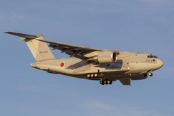 Japanese military cargo plane coming in to land.
